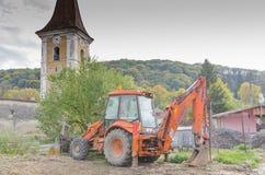 Orange excavator Stock Photos