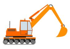 Orange excavator on a white background Royalty Free Stock Photography