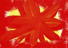 Orange explosion - abstrakt målning royaltyfria bilder