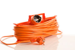 Orange extension cord isolated on white Royalty Free Stock Photos