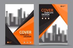 Orange färgintrig med mallen för design för bokomslag för stadsbakgrundsaffär i A4 Broschyrreklambladorientering Årsrapport royaltyfri illustrationer