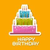 Orange födelsedagbakgrundsillustration Arkivfoto