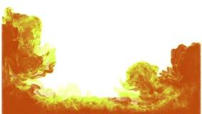 orange för bakgrundsfärgpulver FÄRGPULVER I VATTEN PÅ DEN VITA BAKGRUNDSSERIEN 3d framför voxeldiagram Version 1 lager videofilmer
