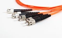 Orange för ST-kontaktdon för fiber optisk patchcord royaltyfria bilder