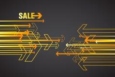 Orange försäljningspilar på mörk bakgrund Arkivbilder