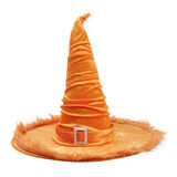 Orange fabric witch hat for Halloween. Orange fabric witch hat with for Halloween isolated on white background, with PS paths royalty free stock photos