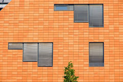 Orange facade with windows Stock Photo