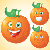 Orange face expression cartoon character set Royalty Free Stock Photos