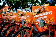 Orange Fahrräder Stockfotografie