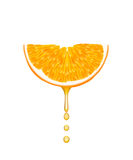 Orange with falling juice drops. royalty free illustration