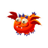 Orange Fantastic Friendly Pet Dragon With Four Wings Fantasy Imaginary Monster Collection Royalty Free Stock Images