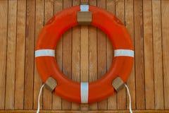 Orange Farblebenboje auf Täfelung lizenzfreie stockfotos