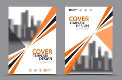 Orange Farbschema mit Stadt-Hintergrund-Geschäfts-Bucheinband-Design-Schablone in A4 Broschürenfliegerplan Jahresbericht Lizenzfreies Stockbild