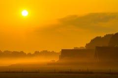 Orange farm sunrise Royalty Free Stock Images