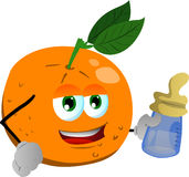 Orange with feeding bottle Royalty Free Stock Photo