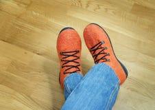 Orange felt shoes. Stock Photography