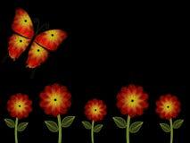 Orange fem och gula blommor och fjärilsPowerPoint bakgrund Royaltyfri Bild
