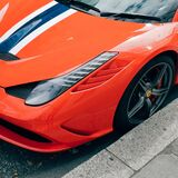 Orange Ferrari Stock Photo