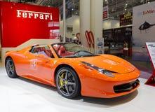 The orange ferrari 458 spider car Stock Image
