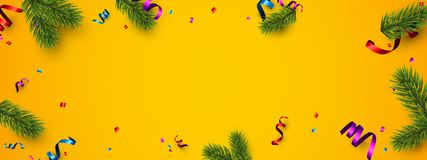 Orange festive banner with colorful serpentine. New Year banner with spruce branches and colorful serpentine. Vector illustration Royalty Free Stock Photo