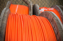 Orange fiber cables Stock Images