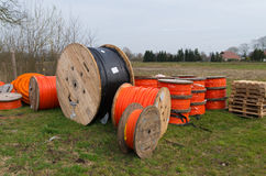 Orange fiber cables Stock Photos