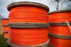 Orange fiber cables Royalty Free Stock Photo