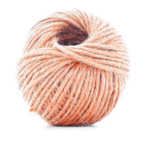 Orange fiber clew, knitting thread roll isolated on white background Royalty Free Stock Photos