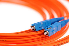 Orange fiber optical network cable Stock Photos