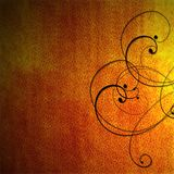 Orange fiery background with black scrollwork Royalty Free Stock Images