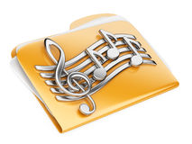 Orange files folder, 3d icon with musical notes. Isolated on a white Stock Images