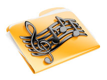 Orange files folder, 3d icon with musical notes. Isolated on a white Royalty Free Stock Photos
