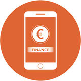 Orange finance and euro sign design in a flat round button Royalty Free Stock Photos