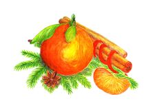 Orange with fir branches and cinnamon watercolor. Orange with fir branches, cinnamon and orange slice watercolor, tissue paper on New year Stock Photo
