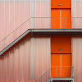 Orange Fire escape stairs Stock Images