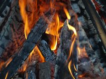 Orange fire flame and black burnt firewood closeup stock photography