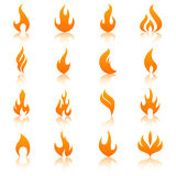 Orange fire flames icon set Royalty Free Stock Images