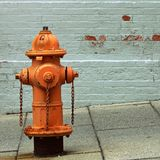 Orange Fire Hydrant. Seen on the street in Baltimore, Maryland. Peeling painted brick wall in the background royalty free stock photo