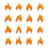 Orange fire icons. Set of orange fire icons, isolated on a white background Royalty Free Illustration