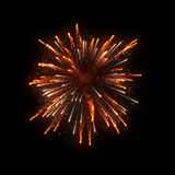 Orange firework on black background. For celebration party. merry christmas and happy new year Stock Images