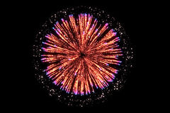 Orange firework on black background. For celebration party. merry christmas and happy new year Stock Photography