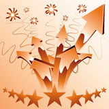 Orange fireworks arrows. Royalty Free Stock Photos