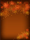 Orange fireworks. Colorful fireworks over dorange background Stock Images