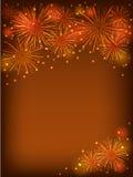 Orange fireworks Stock Images