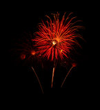 Orange fireworks in the Sky Stock Image