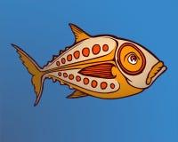 Orange Fische auf einem Seeblauhintergrund Stockfoto