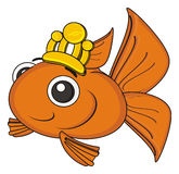 Orange fish with crown. Smiling goldfish in gold crown Stock Image