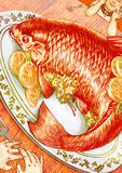 Orange fish dinner for two illustration. Graphic illustration of orange fish with lemons dinner for two vector illustration