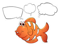 An orange fish with empty bubble notes Stock Photography