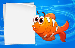 An orange fish beside an empty paper under the water Stock Image